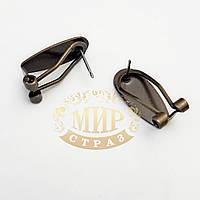 Металлическая швенза-клипса для сережек Antique Bronze, c плоской основой 9*20мм, 1пара