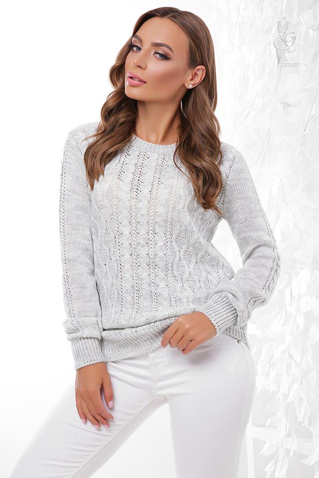 Цвет светло серый Вязаного женского свитера Ингрид
