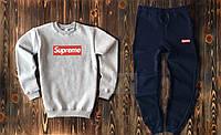 Теплый спортивный костюм Supreme с начеом серо-синего цвета, фото 1