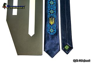 Мужской узкий вышитый галстук Украинец, фото 3