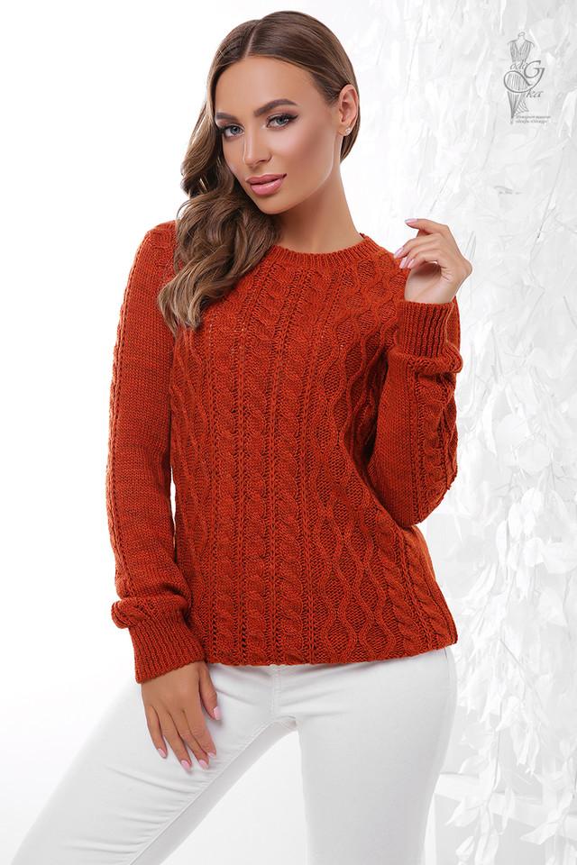 Цвет терракот Вязаного женского свитера Ингрид