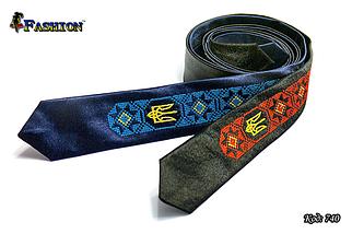Вишита вузька краватка з гербом Українець, фото 3