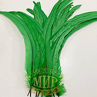 Перо петуха (выберите длину) , ширина 2,5см, цвет Green , 1шт