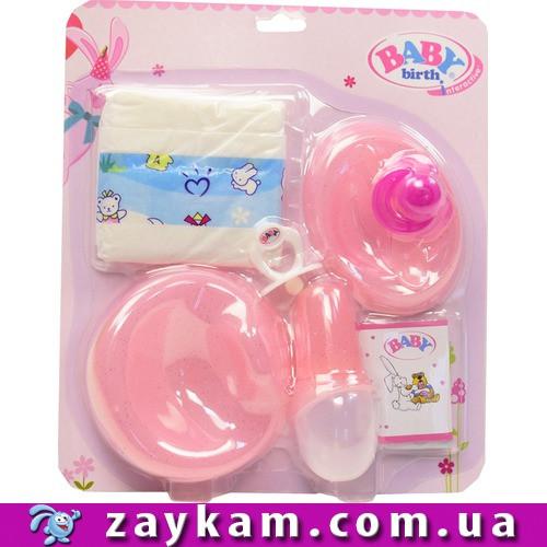 Аксесуари для пупса Baby Born Бебі Борн CL2024D-2 підгузник, пустушка, пляшка, каша, тарілка, на планш