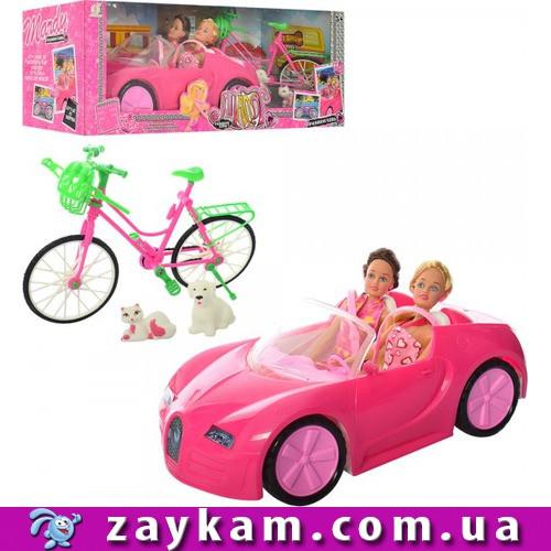 Кукла LF18 2 куклы с машиной, велосипед, питомцы собачка и котик