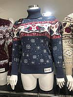 Подростковый вязаный свитер Снегири  для девочек 158,164,170 роста, фото 1