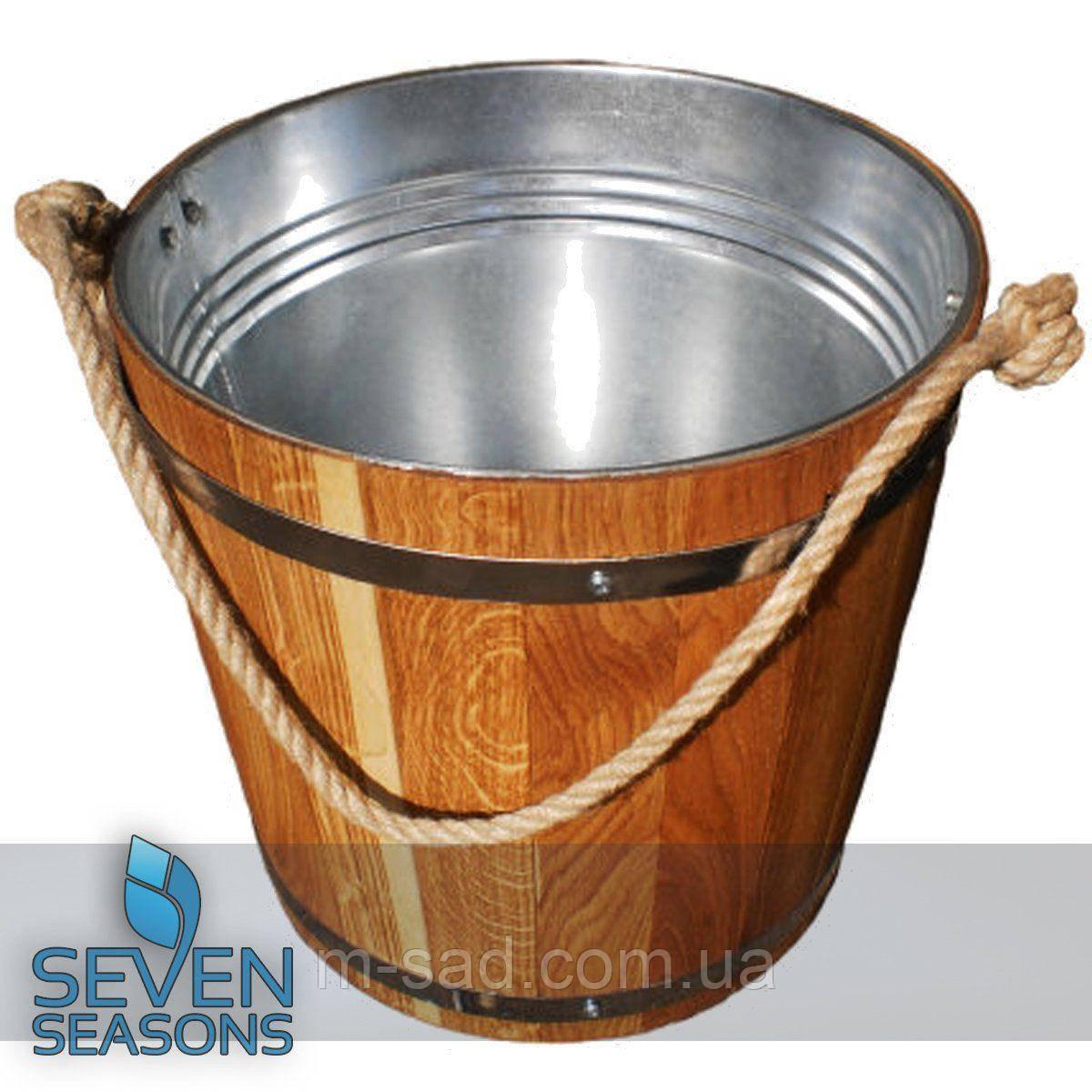 Ведро из дуба для бани Seven Seasons™ с оцинкованной вставкой, 7 л