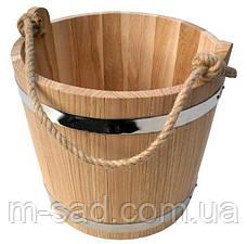 Ведро из дуба для бани Seven Seasons™ с оцинкованной вставкой, 7 л, фото 3