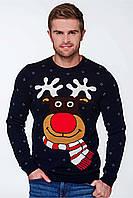 Свитер Рождественский с оленями мужской Синий, XL