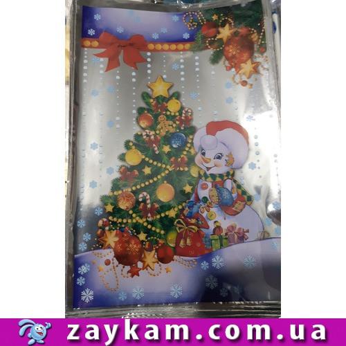 Новорічний подарунковий пакет, 100 штук, Сніговик, ялинка, 20х30 см