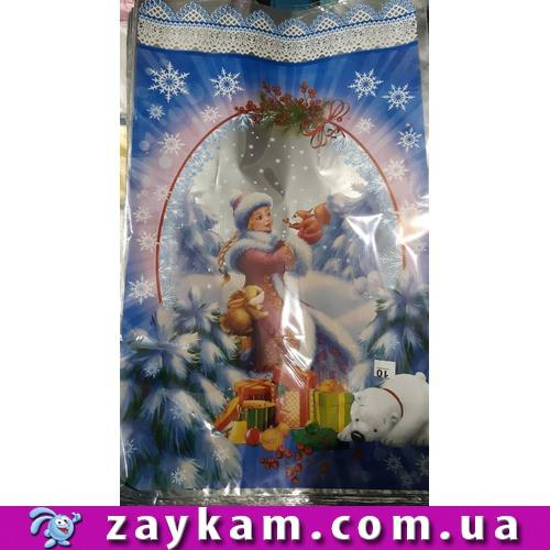 Новорічний подарунковий пакет, 100 штук, Снігуронька, білочка, 25х40 см