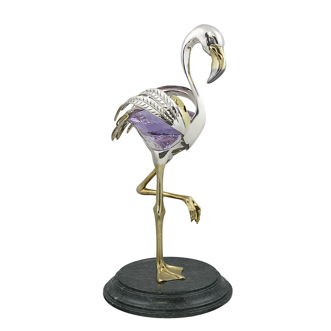 """Бизнес сувенир из серебра """"Фламинго"""""""