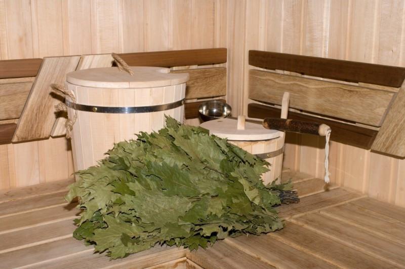 Веник для бани (канадский дуб) в упаковке., фото 1