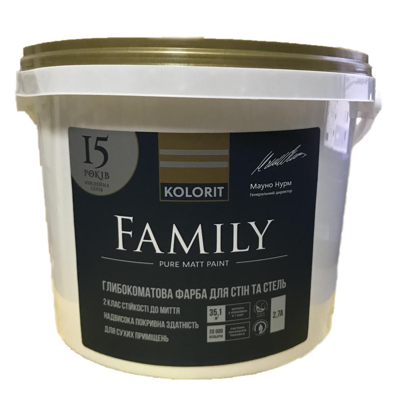 Фарба для стін Kolorit Family 2,7л (А) матова Біла