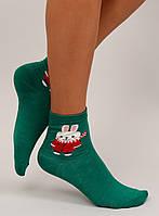 Зеленые женские носки с зайкой SK-81038