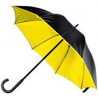 Желто-черный зонт-трость, двухцветный, 5 цветов, с нанесением логотипов, для рекламы, фото 1