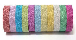 Стрічка клейка для декору, паперова, 12мм 3 метра Leader 397200 (лента декоративная) асорті