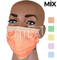 Маски медицинские Цветные MIX, трехслойные AMPRI (50 шт/уп), фото 1