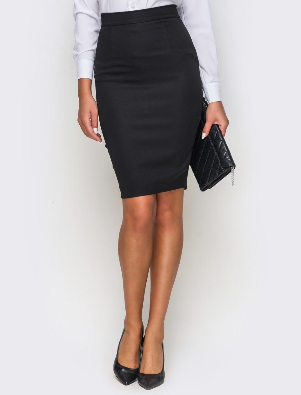 Черная юбка карандаш трикотажная женская джерси