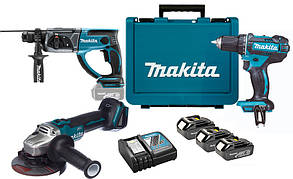 Набор аккумуляторного инструмента Makita DLXMUA504 + 3 акб 18 V 3 Ah + з/у DC18RC + кейс