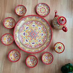 Унікальний узбецький чайний сервіз Риштан з 10 предметів