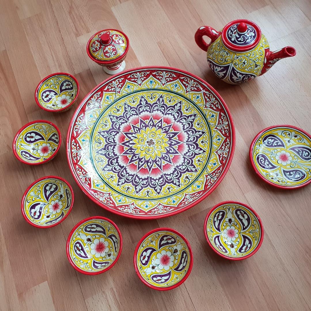 Подарочный  узбекский чайный сервиз Риштан из 10 предметов