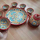 Красивый чайный  сервиз Риштан из 10 предметов Узбекситан, фото 5