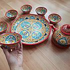 Красивый чайный  сервиз Риштан из 10 предметов Узбекситан, фото 4