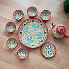 Красивый чайный  сервиз Риштан из 10 предметов Узбекситан, фото 3