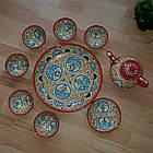 Красивый чайный  сервиз Риштан из 10 предметов Узбекситан, фото 2
