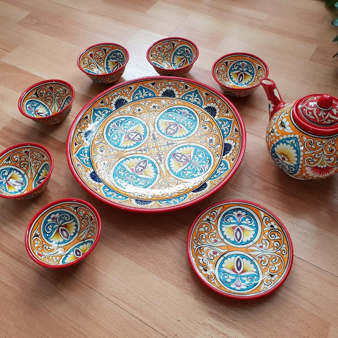 Красивый чайный  сервиз Риштан из 10 предметов Узбекситан