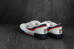 Мужские демисезонные кроссовки Fila белые с красным и черным топ реплика, фото 3