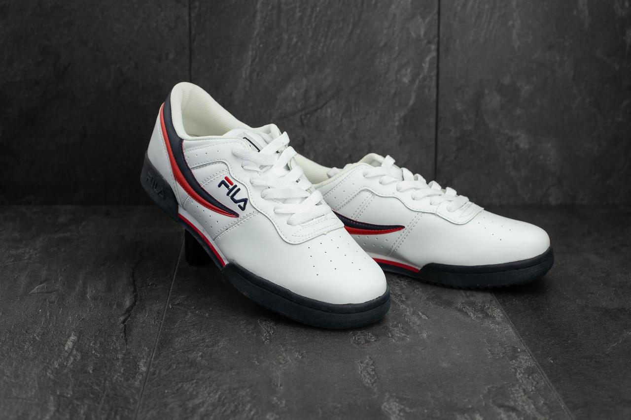 Мужские демисезонные кроссовки Fila белые с красным и черным топ реплика