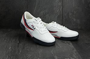 Мужские демисезонные кроссовки Fila белые с красным и черным топ реплика, фото 2