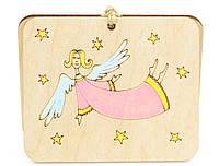 """Деревянная открытка """"Милый ангел"""" на Новый год и Рождество"""
