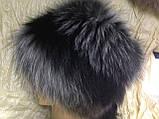 Женская шапка барбара с полоской из меха чернобурки, фото 2