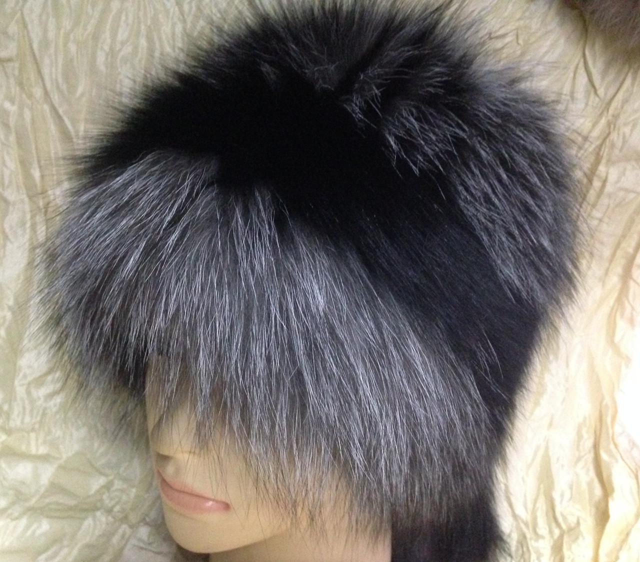 Женская шапка барбара с полоской из меха чернобурки