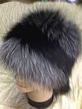 Женская шапка барбара с полоской из меха чернобурки, фото 3