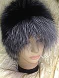 Жіноча шапка барбара з смужкою з хутра чорнобурки, фото 4