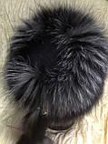Жіноча шапка барбара з смужкою з хутра чорнобурки, фото 5