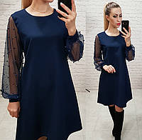 Женское платье бусины трапеция рукав сетка жемчуг т-синий , фото 1