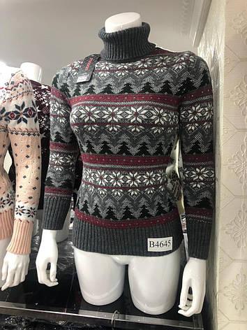 Подростковый вязаный свитер Снежинки для девочек 158,164,170 роста, фото 2