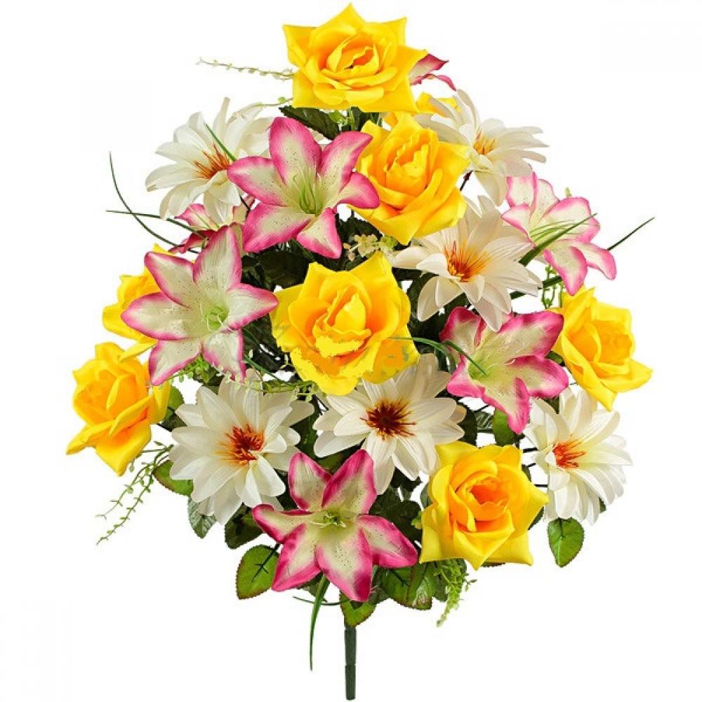 Букет  лилий, роз и крокусов, 63см (5 шт в уп)