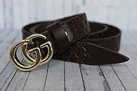 Ремень Gucci женский тонкий коричневый пряжка золото 25мм