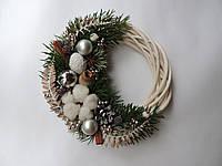 Новогодний рождественский венок с натуральным декором 2 22 см, КОД: 258303