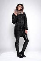 Зимняя женская куртка с мехом черная
