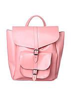 Кожаный женский рюкзак розовый Dekey