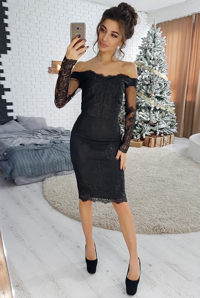 c75ed975d5a Элегантное черное кружевное платье с открытыми плечами VL4098 S. Размер 42  - Чулочно-носочная