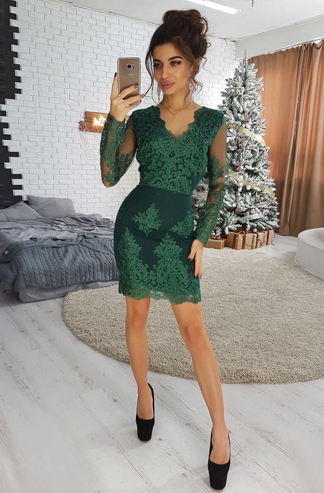 86c2d04bbba Элегантное зеленое платье-футляр с отделкой из кружева VL4079 S. Размер 42  - Чулочно