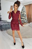 8ef0bef1ebcd6df Элегантное бордовое платье-футляр с отделкой из кружева VL3983-1 M Bordo.  Размер